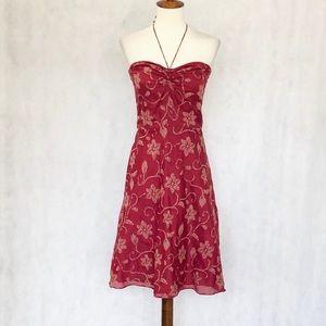 J. Crew Strapless Burgundy Pattern Dress